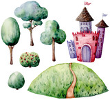 Watercolor fairy tale constructor set. Hand painted green trees and bushes, castle isolated on white background. Forest illustration for design, print. - 226405281