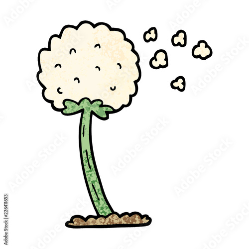 grunge textured illustration cartoon dandelion blowing in wind - 226411653