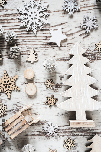 Flat Lay With Rustic White Christmas Decoration - 226412819