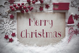 Red Christmas Decoration, Snow, English Text Merry Christmas - 226417073