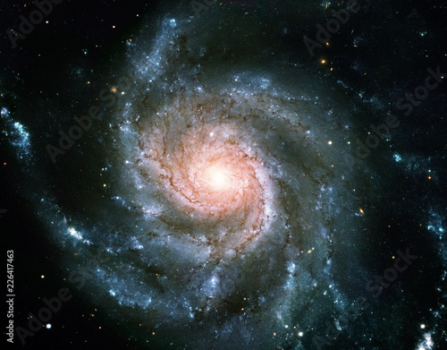 Color-Enhanced Pinwheel Galaxy Messier 101 Universe Nebula Background Wallpaper Original Image by NASA © Douglas James Butner