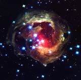 Recolored Bursting Star Monocerotis Color-Enchanced Nebula Galaxy Universe Background Wallpaper Original Image by NASA/ESA