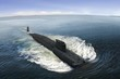 Leinwanddruck Bild - Naval submarine at  open sea