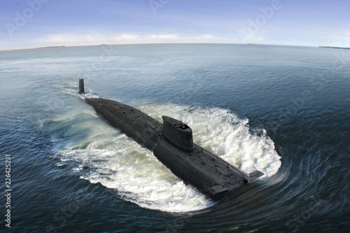 Leinwanddruck Bild Naval submarine at  open sea