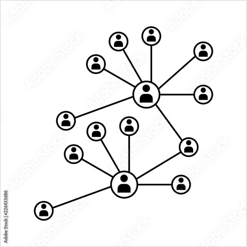 Network Connection Hub Social Network Isolated Flat Line Icon