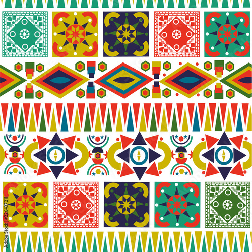 Bohemian folk abstract patchwork seamless pattern © cienpiesnf