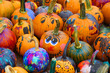 Leinwanddruck Bild - group of colorful painted pumpkin for Halloween in autumn