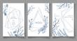 Set of winter cards, geometric trendy crystal design. Hand drawn