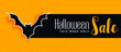 halloween sale yellow banner with bat silhouette