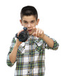 Boy hold video camera. White isolated