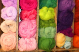 wool for sale in balls in the wholesaler's shop
