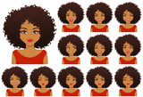 African american woman with different facial expressions and afro hairstyle set isolated - 226441899