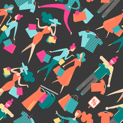 Seamless pattern with isolated people on shopping. Isometric fla © dinkoobraz