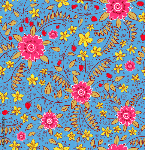 pattern of flowers and berries - 226451608