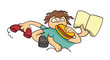 Many-armed cartoon lazy man. Vector illustration, isolated on white. - 226452280