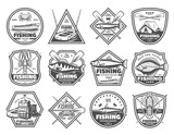 Fishing tackles and fisher tours, vector icons