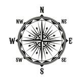Vector vintage navigation compass symbol