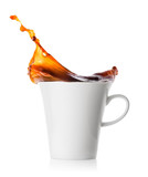 Splash coffee in white porcelain cup