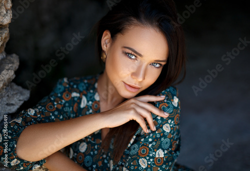 Leinwanddruck Bild Perfect girl sensual portrait outdoor
