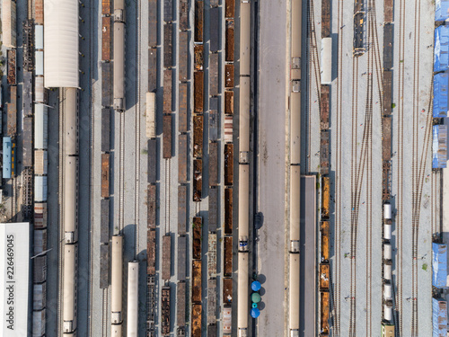 Fototapeta Aerial view train container cargo warehouse for transportation background.