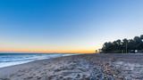 Autumn evening on the beach with perfect horizontal horizon