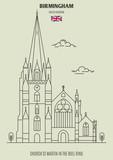Church St Martin in the Bull Ring in Birmingham, UK. Landmark icon