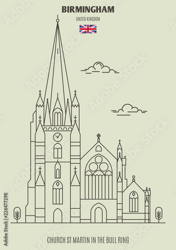 Church St Martin in the Bull Ring in Birmingham, UK. Landmark icon - 226477298