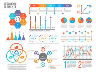 Infographics elements. Statistics chart, option flowchart and timeline. Diagram, budget graph. Business presentation vector graphics. Flowchart template, timeline and circle graph illustration