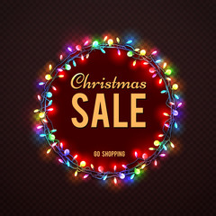 Christmas Sale banner template with colorful lights. Vector christmas holiday sale, banner light xmas garland illustration