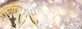 New Year 2019 - Toast With Champagne And Clock - 226480491