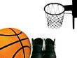 Part of basketball and sport sneakers with blur basketball hoop on isolated white background with copy space