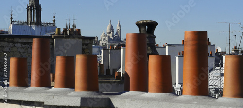 The roofs of Paris and its chimneys under a clouds sky - 226485652