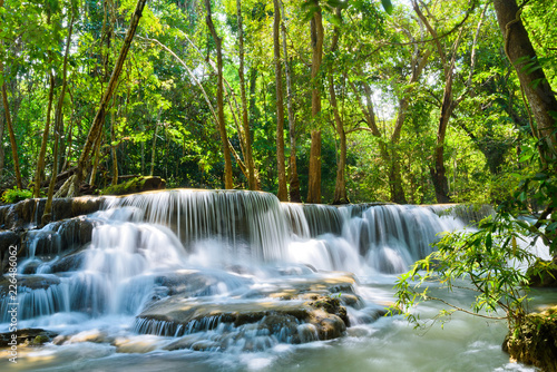 Huai Mae Khamin waterfall at Kanchanaburi , Thailand , beautiful waterfall, forest, waterfall with tree background - 226486062