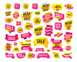 Sales banner. Super mega discounts. Happy face speech bubble icons. Smile sign. Map pointer symbols. Black friday. Cyber monday. Vector