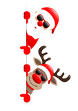 Santa & Rudolph On Top Sunglasses Red Star Banner Showing