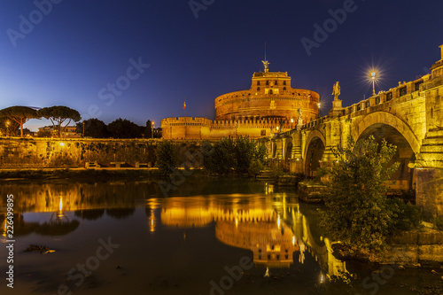 Castel Sant'Angelo at sunset in Rome, Italy