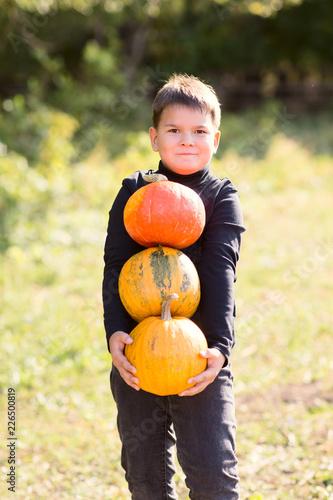 Leinwandbild Motiv Little boy holding Halloween pumpkins  at country farm on warm autumn day.