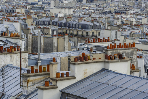 Poster The roofs of Paris and its chimneys under a clouds sky