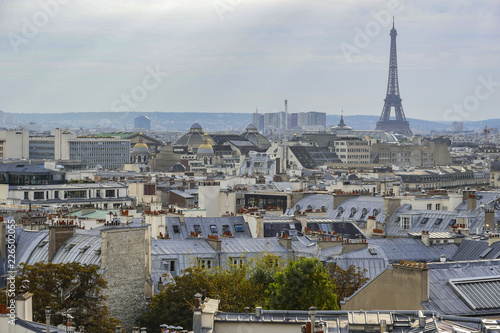 The roofs of Paris and its chimneys under a clouds sky - 226502055