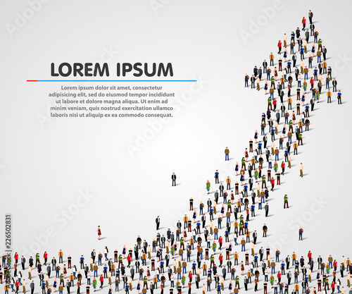 Large group of people in the shape of an arrow. Vector illustration