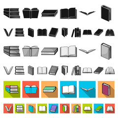 Book in the binding flat icons in set collection for design. Printed products vector symbol stock web illustration.