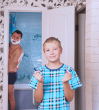 Father and son in the bathroom. Concept movember. - 226512206