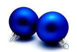 Christmas decoration blue balls  isolated on a white