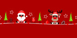 Christmas Santa & Rudolph Sunglasses Symbols Red