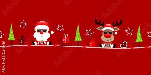 Christmas Santa & Rudolph Sunglasses Symbols Red