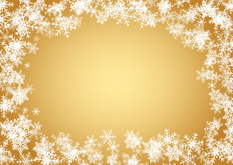 Christmas and happy new year gold vector background with snowflake © amperespy