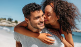 Close up of a romantic couple outdoors on a sunny day - 226532442