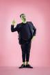 Quadro Bloody Halloween theme: The crazy maniak face on pink studio background