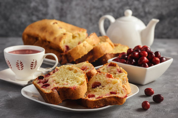 Homemade cranberry loaf cake and cup of tea.