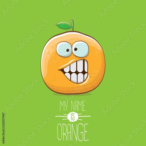 wektor zabawny kreskówka ładny pomarańczowy charakter na białym tle na zielonym tle. Nazywam się pomarańczowy wektor koncepcji. super funky owoców cytrusowych lato charakter żywności
